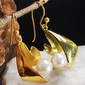Solid Sterling Silver 925/14kt Gold Pearl Earrings